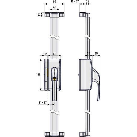 ABUS FOS650 S AL0145 Fensterstangenschloss silber