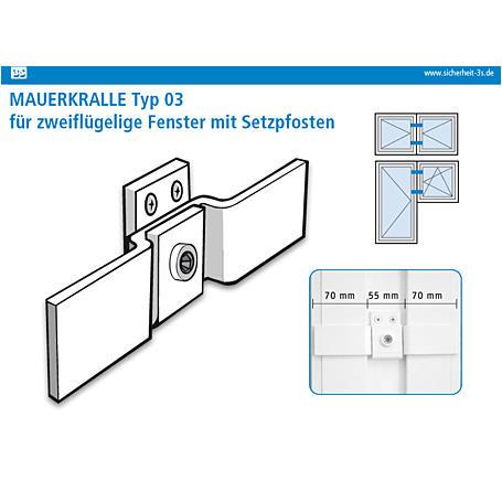 3S Mauerkralle Typ 03 weiß 70/55/70mm Innenschsk.