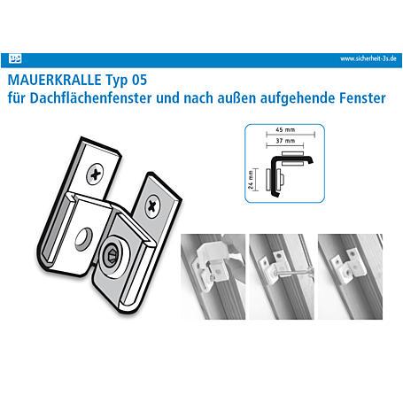 3S Dachflächenfenster Sicherung weiß 45/45mm 2er