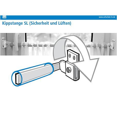 3S Kippstange SL weiß mit 2 Halter weiß