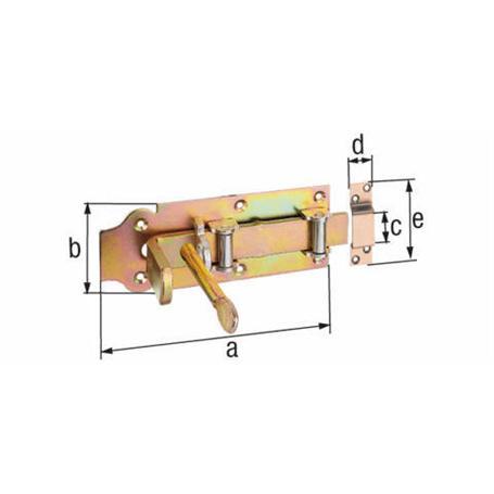 Stalltür-Rollen-Schlossriegel gelbvz 200mm