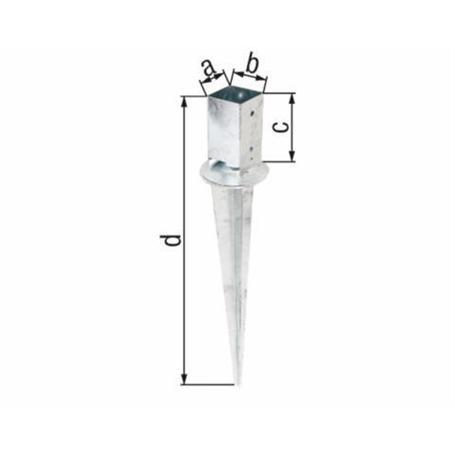 Einschlag-Bodenhülse Vierkantholzpfosten 91x91/900