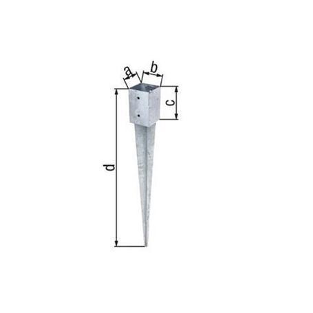 Einschlag-Bodenhülse Vierkantholzpfosten 91x91/750