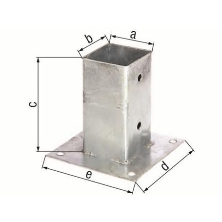 Aufschraubhülse für Vierkantholzpfosten 71x71/150