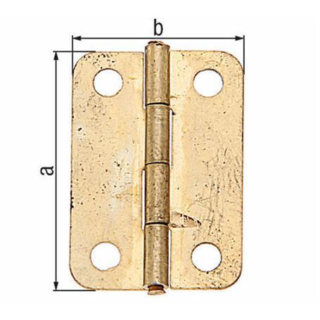 Schatullen-Scharnier 24x17mm vermessingt 4Stück