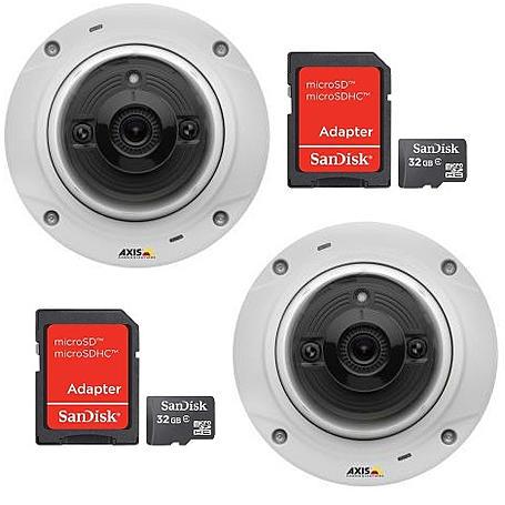 Domekamera Set 2x Axis M3024-LVE + 2x 32GB MicroSD