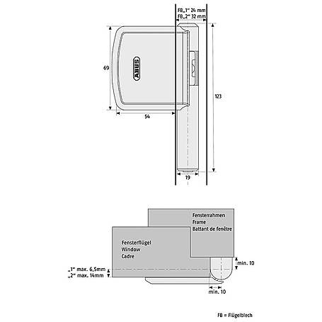 Abus FO400N B + Abus FAS101 B Fenstersicherung Set