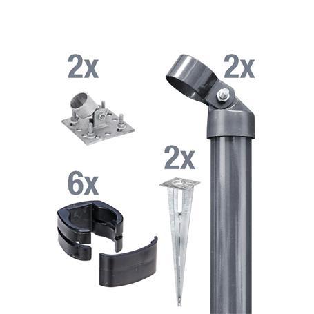 Zauneck-Set, anth, zA, für Zaunhöhe 1220mm