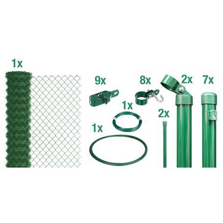 Maschendrahtzaun Set zE, grün, H. 2000 mm - 15 m