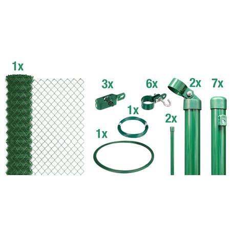 Maschendrahtzaun Set zE, grün, H. 1250 mm - 15 m