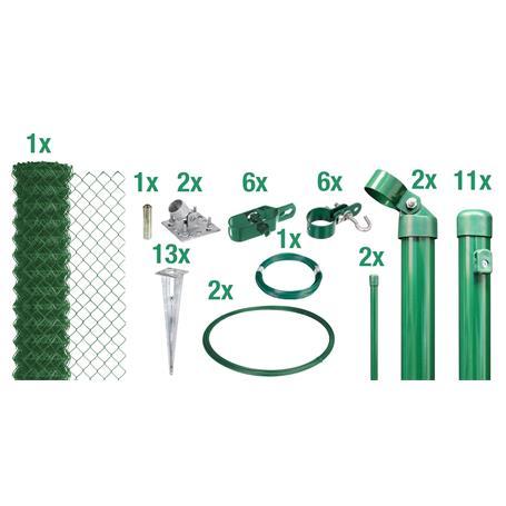 Maschendrahtzaun Set EBH, grün, H. 800 mm - 25 m