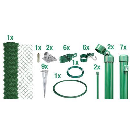 Maschendrahtzaun Set EBH, grün, H. 1750 mm - 15 m