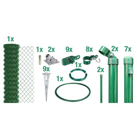 Maschendrahtzaun Set EBH, grün, H. 2000 mm - 15 m