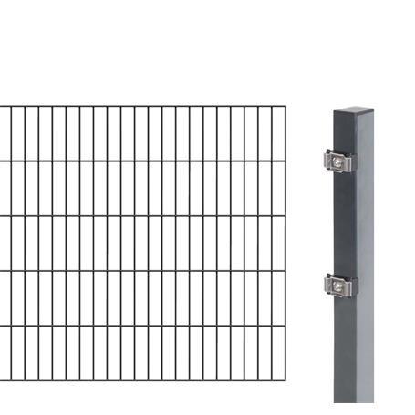 2m Doppelstabmatte 6-5-6 + Pfosten anth 2000x1000