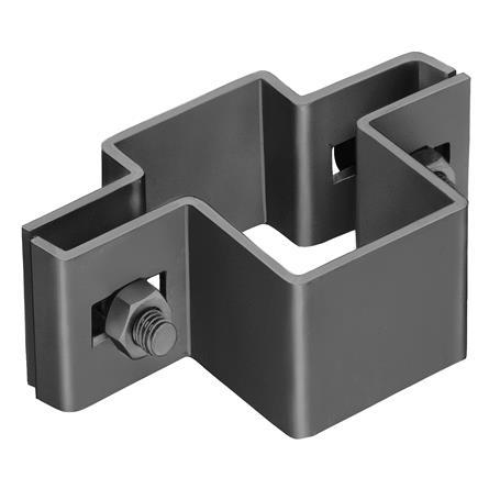 Mittelschelle für Vierkantpfosten 80 x 40 mm, anth