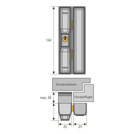 Abus FTS 88 S AL0125 Fenster-Zusatzschloss silber