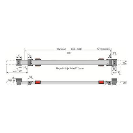 ABUS PR1400 stabiler Panzerriegel für Nebentüren