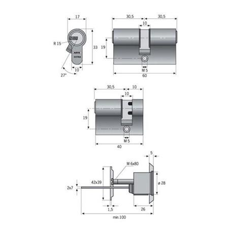 ABUS Knaufzylinder ECK550NP A40 I55 GL