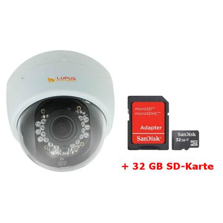 Lupus IP-Kamera Set LE966 Dome HD + MicroSD 32GB