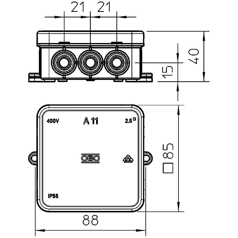 OBO Bettermann Kabelkasten 5P A 11 5 - grau | Expert-Security.de