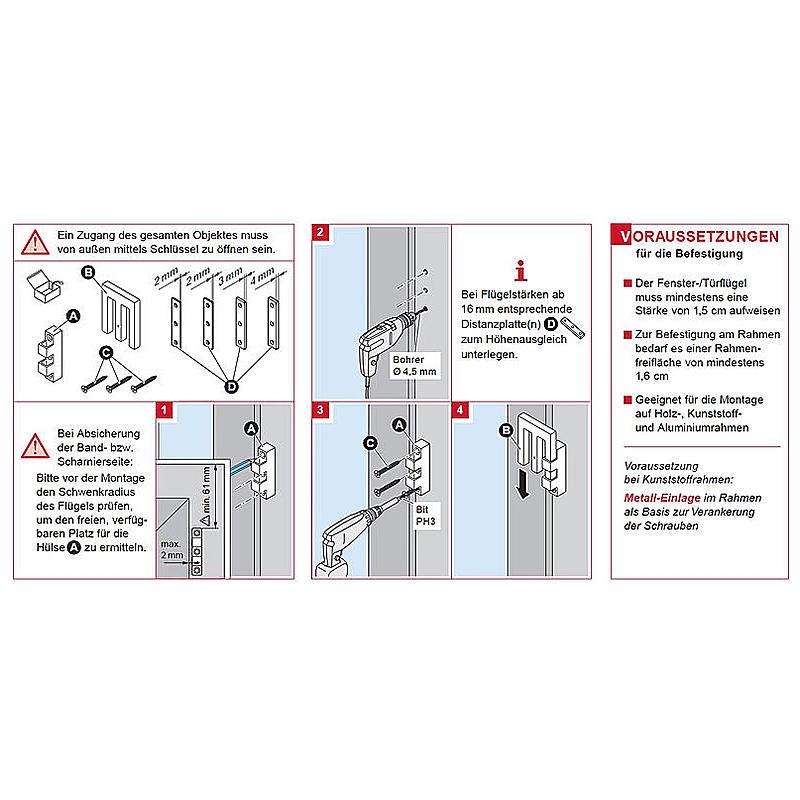 Scheffinger EM3 Riegel weiss zur Einbruchsicherung | Expert-Security.de