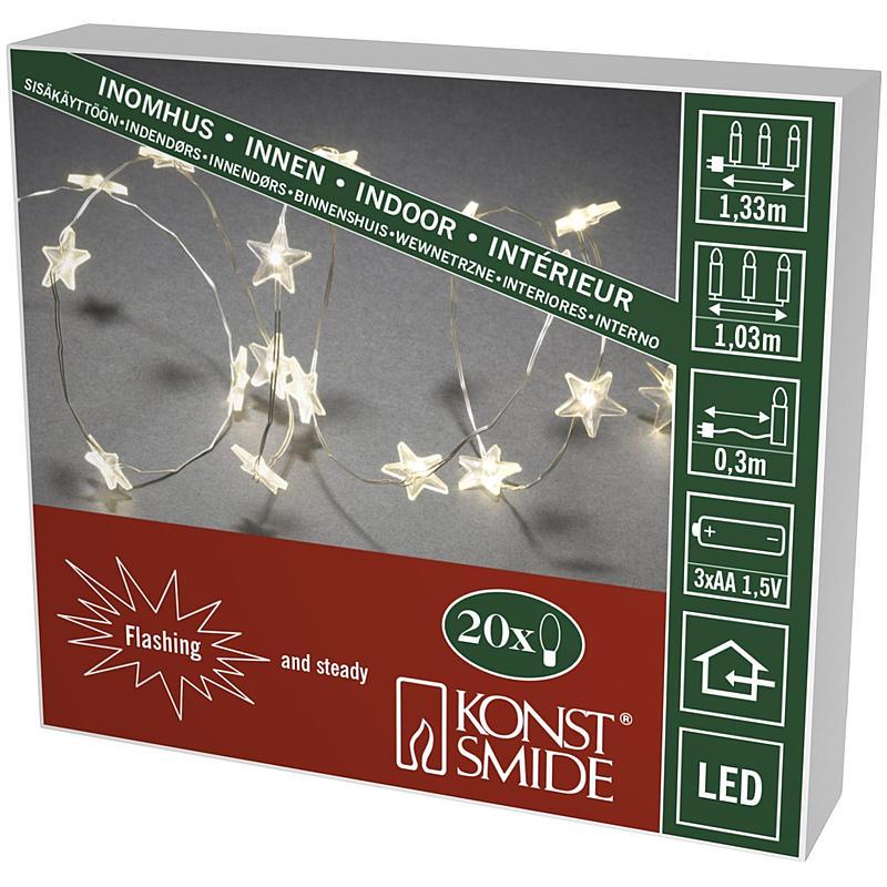 LED-Dekolichterkette 20 transp.Sterne w