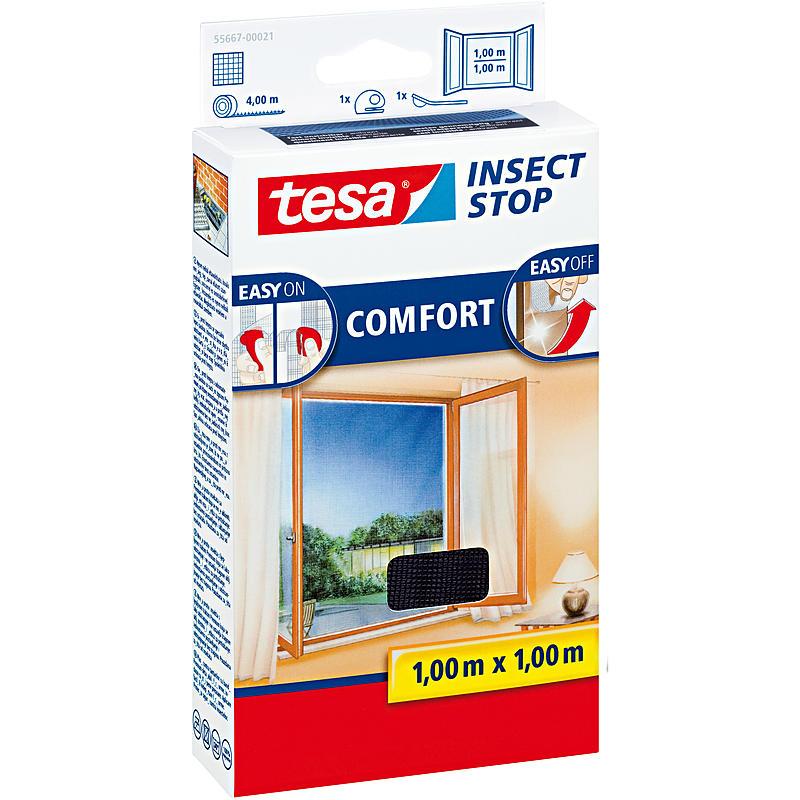 Tesa fliegengitter fenster 100x100 anthrazit expert for Fenster 100x100