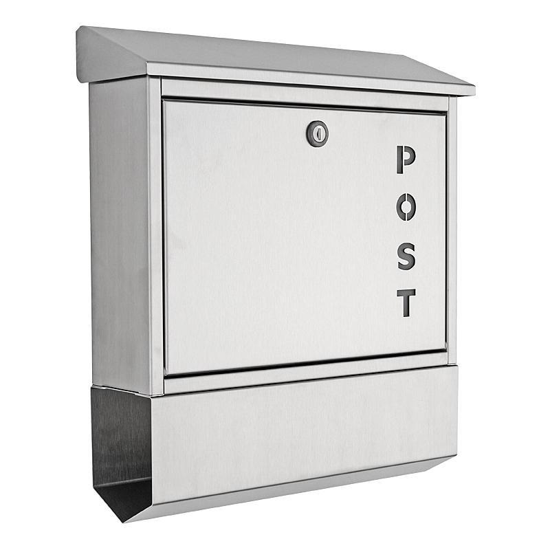 Heibi briefkasten mit zeitungsfach 43835 edelstahl for Briefkasten mit entnahmeschutz