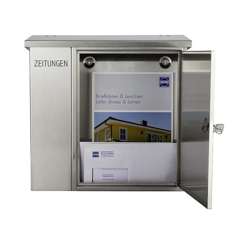 heibi briefkasten mit zeitungsfach 43661 edelstahl. Black Bedroom Furniture Sets. Home Design Ideas