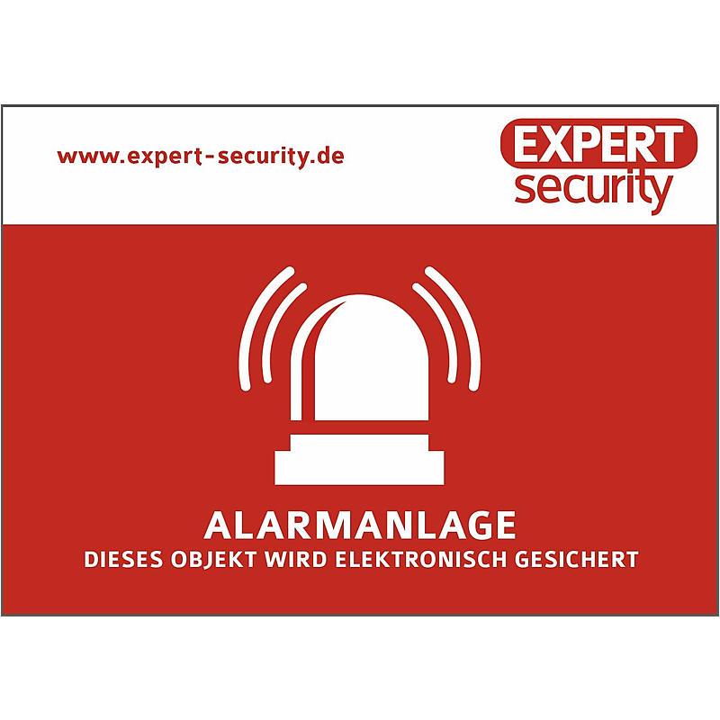 "EXPERT-Sec Alarm Aufkleber 74x105mm - Aufkleber ""Alarmanlage"""
