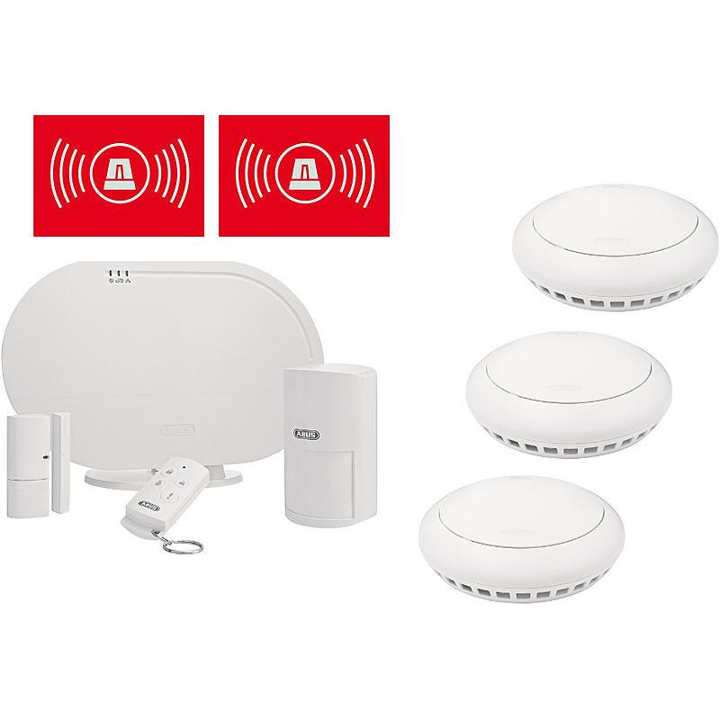 abus smartvest funkalarm basis set mit rauchmelder. Black Bedroom Furniture Sets. Home Design Ideas