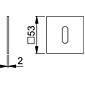 Hoppe Edelstahl Flachrosette E848S quadratisch BB