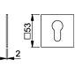 Hoppe Edelstahl Flachrosette E848S quadratisch PZ