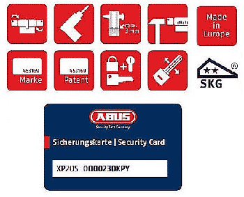 Abus Sicherungskarte Symbole Security