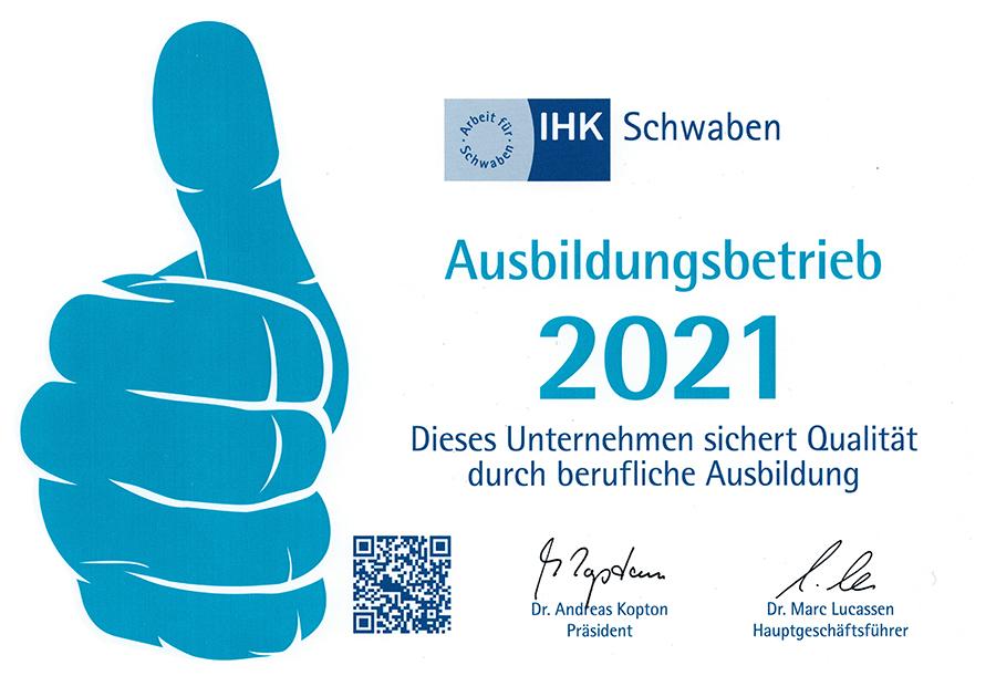 Ausgezeichneter Ausbildungsbetrieb IHK Augsburg